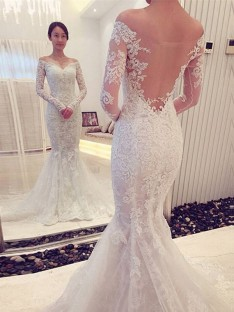61f324354a Trumpet/Mermaid Off-the-Shoulder Long Sleeves Lace Chapel Train Wedding  Dress