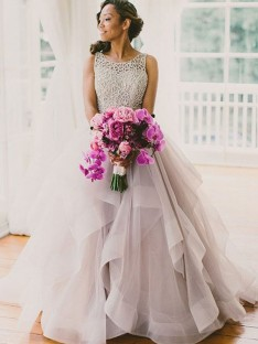 Ball Gown Sleeveless Scoop Sweep/Brush Train Tulle Wedding Dress