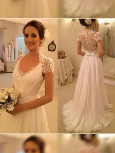 A Line Princess V Neck Sweep Brush Train Sleeveless Lace Chiffon Wedding