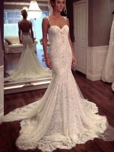 Trumpet/Mermaid Sleeveless Court Train Spaghetti Straps Lace Wedding Dress