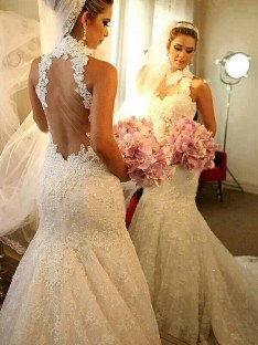 Trumpet/Mermaid High Neck Sleeveless Lace Court Train Wedding Dress