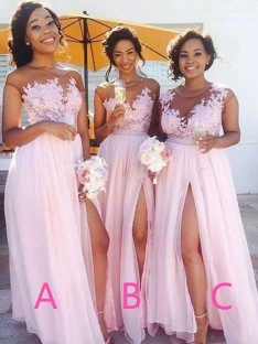 A-Line Scoop Long Applique Chiffon Bridesmaid Dress