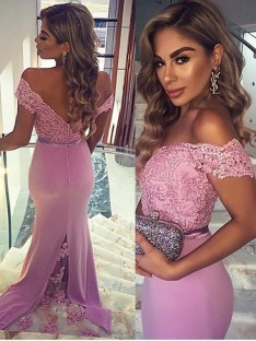 Sheath/Column Off-the-Shoulder Sleeveless Lace Floor-Length Stain Dresses