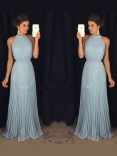 A-Line/Princess Sleeveless High Neck Pleats Floor-Length Chiffon Dresses