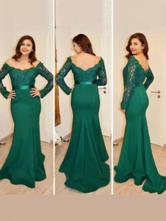 Trumpet/Mermaid Off-the-Shoulder Long Sleeves Floor-Length Satin Dresses