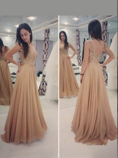 A-Line/Princess Scoop Sleeveless Floor-Length Chiffon Dresses