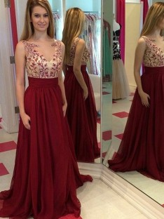 A-Line/Princess Bateau Sleeveless Floor-Length Chiffon Dresses