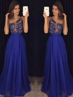 A-Line/Princess Sleeveless One-Shoulder Floor-Length Chiffon Dresses