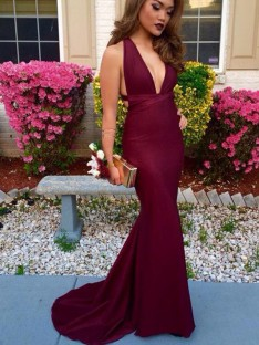 Trumpet/Mermaid V-Neck Sleeveless Sweep/Brush Train Spandex Dresses