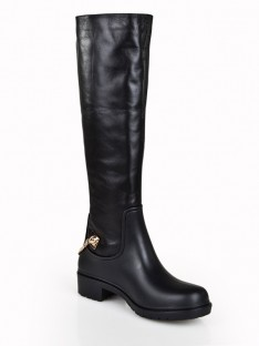 Kitten Heel Chain Knee High Boots S5LSDN1297LF