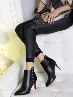 Women's Sheepskin Pointed Toe Stiletto Heel Ankle Boots