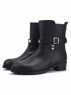 Women's Cattlehide Leather Closed Toe Kitten Heel Boots