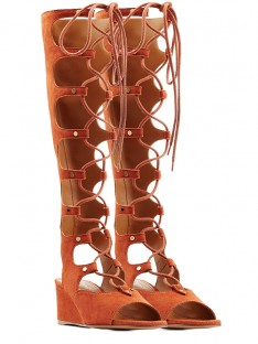 Wedge Heel Suede Sandal Knee High Boots S5LSDN52514LF