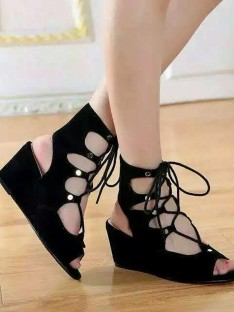 Suede Wedge Heel Sandal Ankle Boots S5LSDN52517LF
