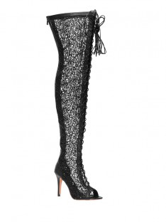 Lace Platform Heel Over The Knee Boots S5MA0402LF