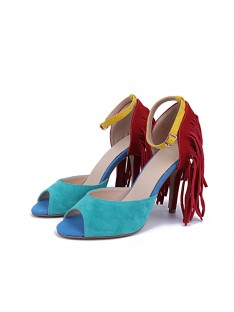 Suede Heel Tassel Evening Shoes S5MA04157LF