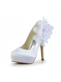 Heel Platform Pumps Wedding Shoes Flower S14093