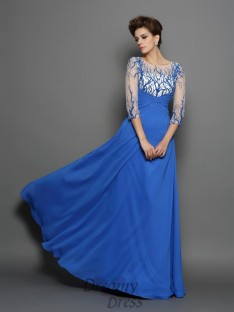 Scoop 1/2 Sleeves Chiffon Long Dress