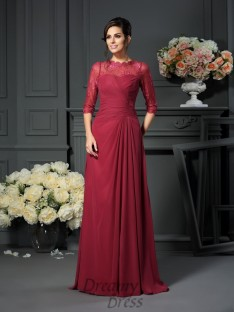 Scoop 1/2 Sleeves Floor-Length Chiffon Mother of the Bride Dress