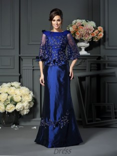 Scoop 1/2 Sleeves Floor-Length Taffeta Mother of the Bride Dress