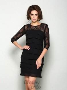 Scoop 1/2 Sleeves Short/Mini Chiffon Mother of the Bride Dress