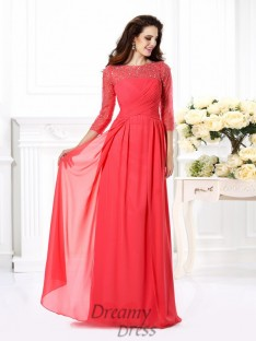 Scoop 3/4 Sleeves Chiffon Long Dress