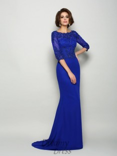 Scoop 3/4 Sleeves Chiffon Long Mother of the Bride Dress