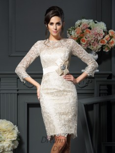 Scoop 3/4 Sleeves Short/Mini Lace Mother of the Bride Dress
