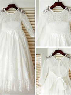 Scoop Long Sleeves Ankle-length Lace Flower Girl Dress