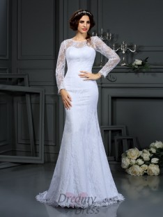 Scoop Long Sleeves Satin Court Train Wedding Dress