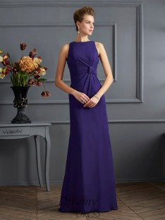 Sheath/Column Bateau Pleats Chiffon Floor-Length Dress