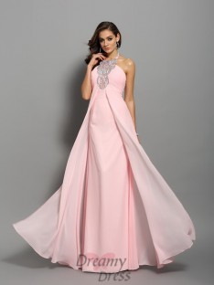 Sheath/Column Chiffon Floor-Length High Neck Dress