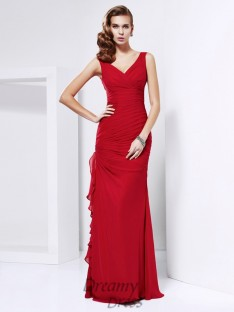 Sheath/Column Chiffon Floor-Length V-neck Dress