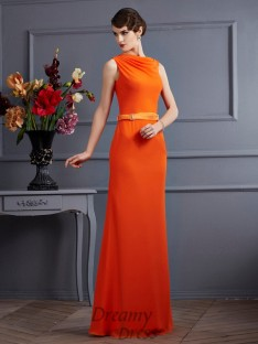 Sheath/Column Chiffon High Neck Sash/Ribbon/Belt Floor-Length Dress