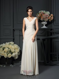 Sheath/Column Chiffon V-neck Floor-Length Dress