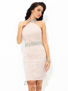 Sheath/Column Halter Lace Short Satin Cocktail Dress