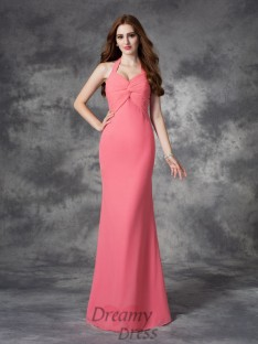 Sheath/Column Halter Ruched Floor-Length Chiffon Bridesmaid Dress