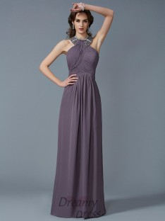 Sheath/Column High Neck Chiffon Floor-Length Dress
