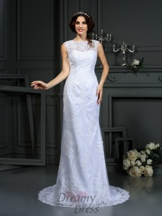 Sheath/Column High Neck Court Train Lace Wedding Dress