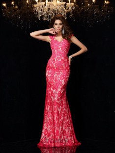 Sheath/Column Lace Elastic Woven Satin Floor-Length Dress