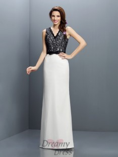Sheath/Column Lace Floor-Length Chiffon Bridesmaid Dress