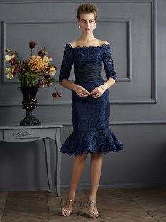 Sheath/Column Off-the-Shoulder 3/4 Sleeves Knee-Length Taffeta Dress