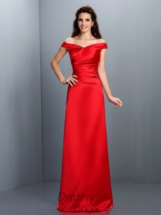 Sheath/Column Off-the-Shoulder Chiffon Long Dress
