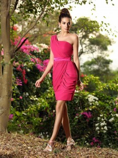Sheath/Column One-Shoulder Chiffon Short/Mini Bridesmaid Dress
