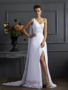 Sheath/Column One-Shoulder Chiffon Sweep/Brush Train Dress