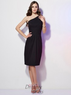 Sheath/Column One-Shoulder Knee-Length Chiffon Dress With Beading