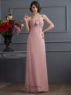 Sheath/Column One-Shoulder Pleats Floor-Length Chiffon Bridesmaid Dress