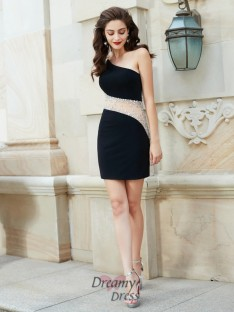 Sheath/Column One-Shoulder Sleeveless Short Net Dress with Beading