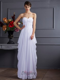 Sheath/Column Pleats Chiffon Sweetheart Floor-Length Dress