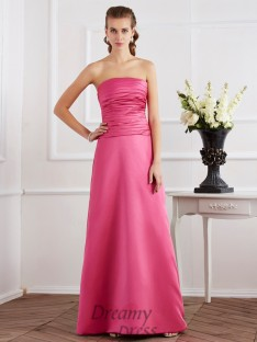 Sheath/Column Pleats Strapless Satin Floor-Length Dress
